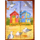 Emma Ball Beach Hut Tea Towel