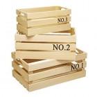 Natural Elements Set of 3 Paulowina Wood Crates