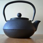 Victor Matt Black Cast Iron Stove Kettle with Strainer - Small