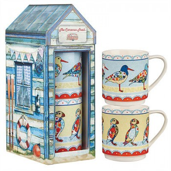 Caravan Trail Oyster Catcher & Puffin Stacking Mug Set