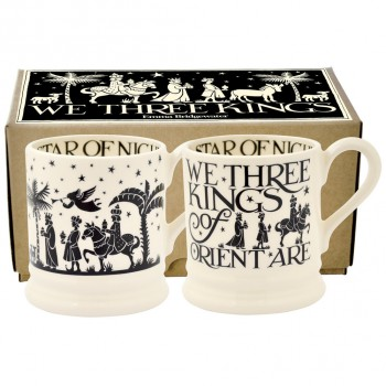 Emma Bridgewater Black Toast We Three Kings Set of 2 1/2 Pint Mugs