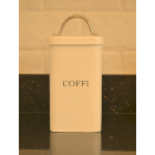 "Serif Cream Enamel Welsh ""Coffi"" Coffee Canister"