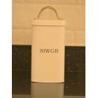 """Serif Cream Enamel Welsh """"Siwgr"""" Sugar Canister"""