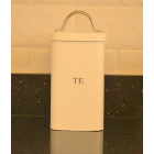 "Serif Cream Enamel Welsh ""Te"" Tea Storage Canister"