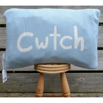 Cwtch Blue Welsh Cushion