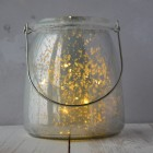 Metal Effect Glass Jar with LED Lights - Small