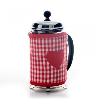 Vintage Heart Cafetiere Cosy - Red
