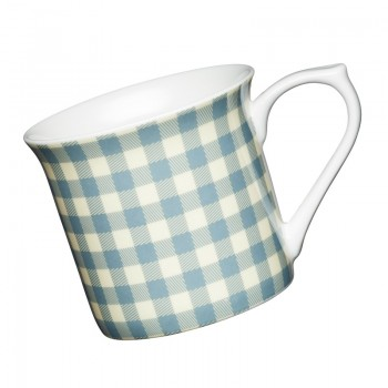 Blue Gingham Fluted Fine Bone China Mug