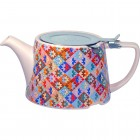 London Pottery Company Kaffe Fassett Oval-Filter Teapot with Infuser (Patchwork)