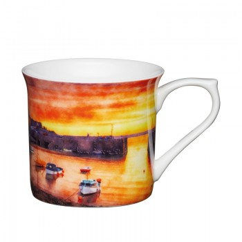 Boats Fluted Fine Bone China Mug