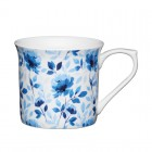 Blue Rose Fluted Fine Bone China Mug