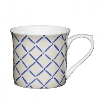 Crosshatch Fluted Fine Bone China Mug
