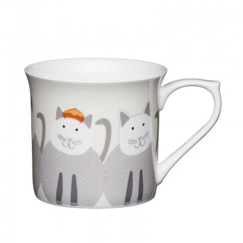 Cats Fluted Fine Bone China Mug