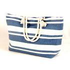Tobs New England Cream/Blue Stripe Nautical Tote Bag