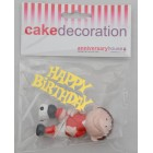 Red Footballer Happy Birthday Cake Topper