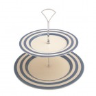 Fairmont & Main Blue Kitchen Stripe 2 Tier Cake Stand