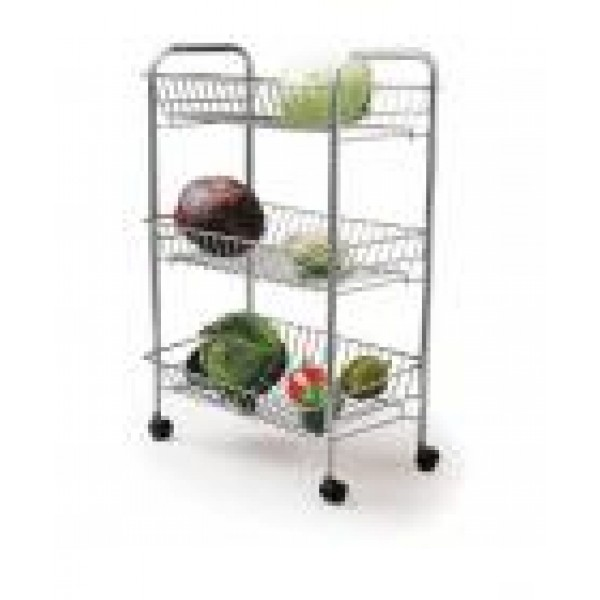 Kitchen Craft Chrome Plated Three Tier Tidy Storage Trolley