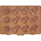 Lock In Nuts and Bolts Silicone Flexible Ice Cube Tray