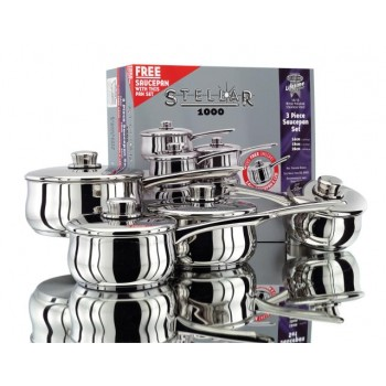 Stellar 1000 3 piece  Saucepan Set with Free Saucepan - Limited Offer Sale Price
