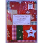 "Peggy Wilkins Christmas Quilt Wipe Clean Tablecloth 55"" X 70"""