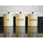 Te Coffi  Siwgr / Tea Coffee Sugar Canisters - Cream