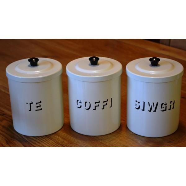 te coffi siwgr tea coffee sugar canisters cream. Black Bedroom Furniture Sets. Home Design Ideas