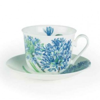 Roy Kirkham Agapanthus Fine Bone China Breakfast Cup and Saucer