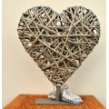 Tobs Grey Willow Heart on Stand with LED Lights