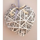 Tobs White Vine & Willow Heart with LED Lights - Small