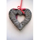 Tobs Grey Wood Weave Heart with LED Lights 30cm