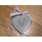 Tobs Grey Wooden Hanging Heart - Small