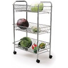 Kitchen Craft Chrome Plated Three Tier Tidy Storage Trolley