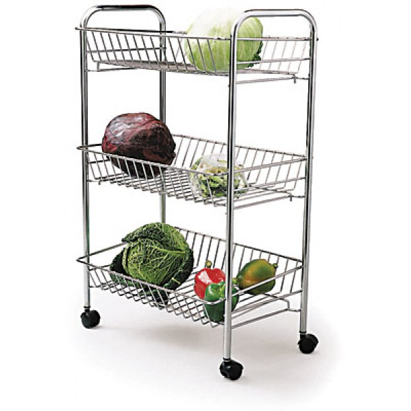 Kitchen Trolley Accessories: Kitchen Craft Chrome Plated Three Tier Tidy Storage Trolley